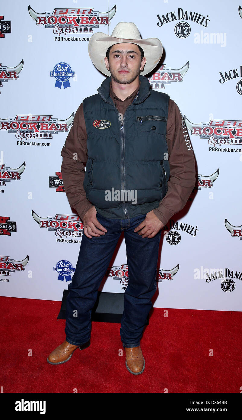 Eneias Barbosa Professional Bull Rider Superstars walk the red carpet at PBR Rock Bar inside The Miracle Mile Shops at Planet Hollywood Resort and Casino Las Vegas, Nevada - 26.10.12 Featuring: Eneias Barbosa Where: United States When: 26 Oct 2012 - Stock Image