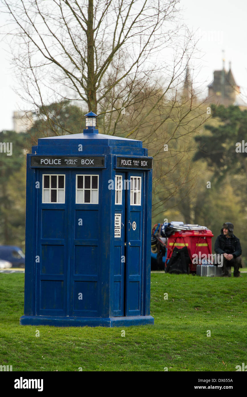 CARDIFF, UK. 18th March 2014. The cast of BBC Doctor Who are spotted filming in Bute Park in the city centre. In the background the top of Cardiff Castle is visible. Credit:  Polly Thomas / Alamy Live News - Stock Image