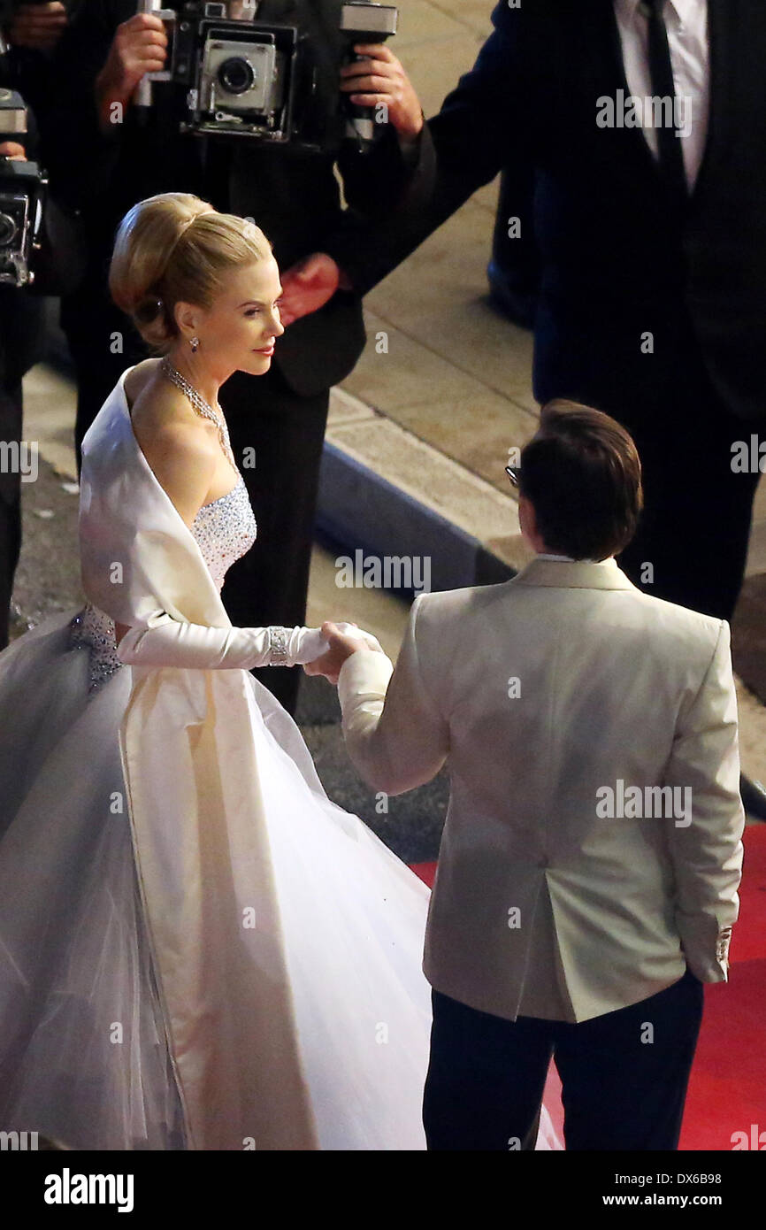 Nicole Kidman as Grace Kelly and Tim Roth as Prince Rainier III Seen for the first time together on set during the filming of 'Grace Of Monaco' outside the Monte Carlo Casino Monte Carlo, Monaco - 29.10.12, , *** **** - Stock Image