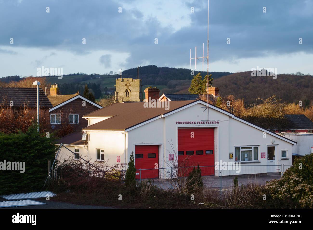 Presteigne, Powys, UK. The fire station - Stock Image