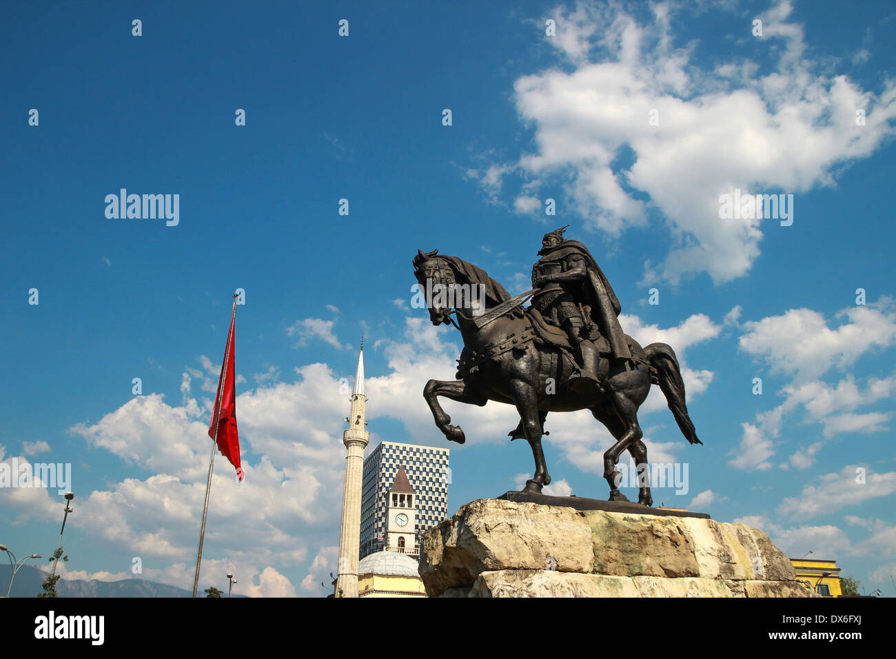 Statue Albanian national hero George Kastrioti Skanderbeg on his horse, in the main square of Tirana, the capital of Albania - Stock Image
