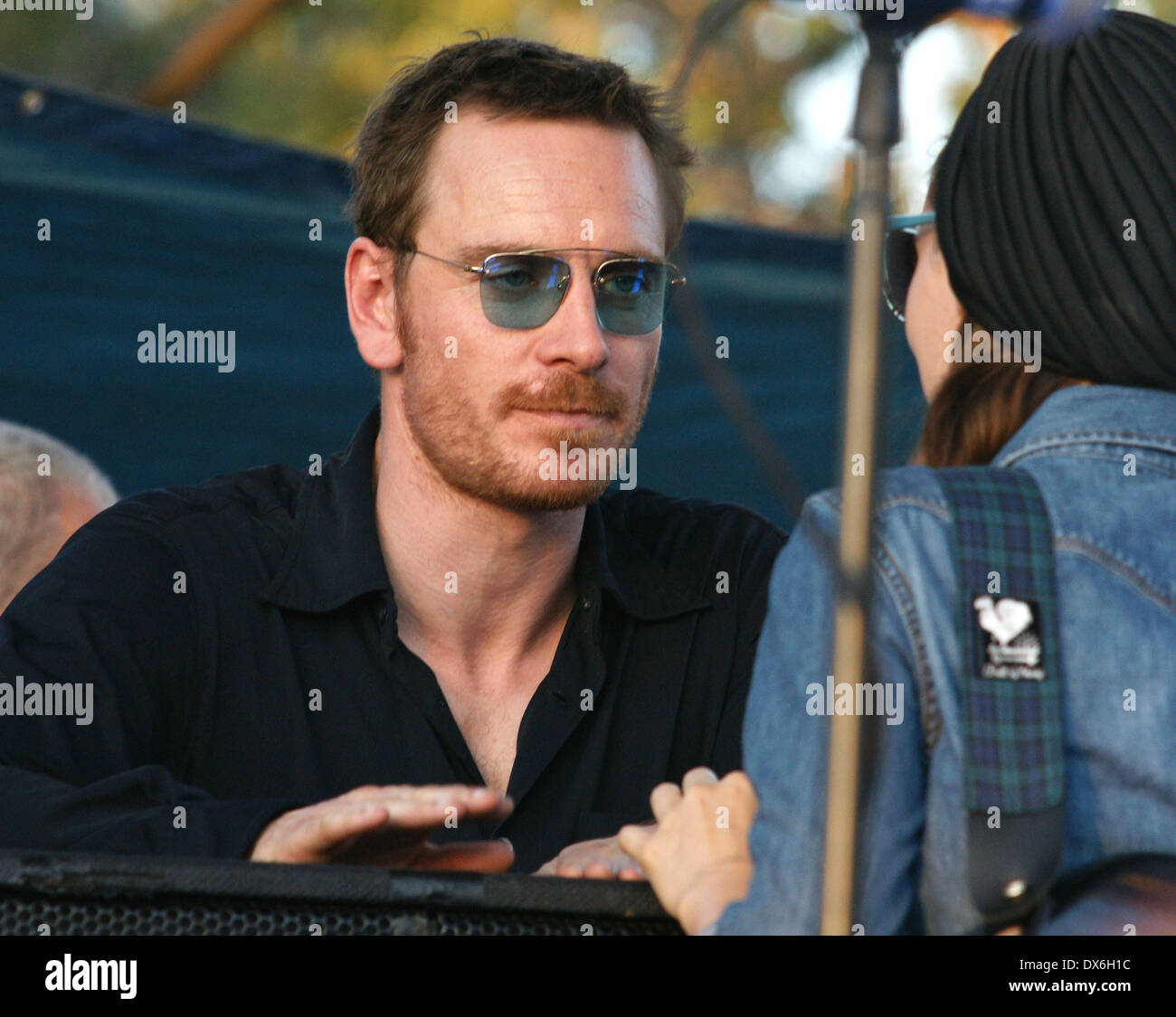 Michael Fassbender and Rooney Mara on the set of 'Untitled Terrence Malick Project' at the Fun Fun Fun Fest Austin, Texas - 02.11.12 Featuring: Michael Fassbender and Rooney Mara Where: United States When: 02 Nov 2012 - Stock Image