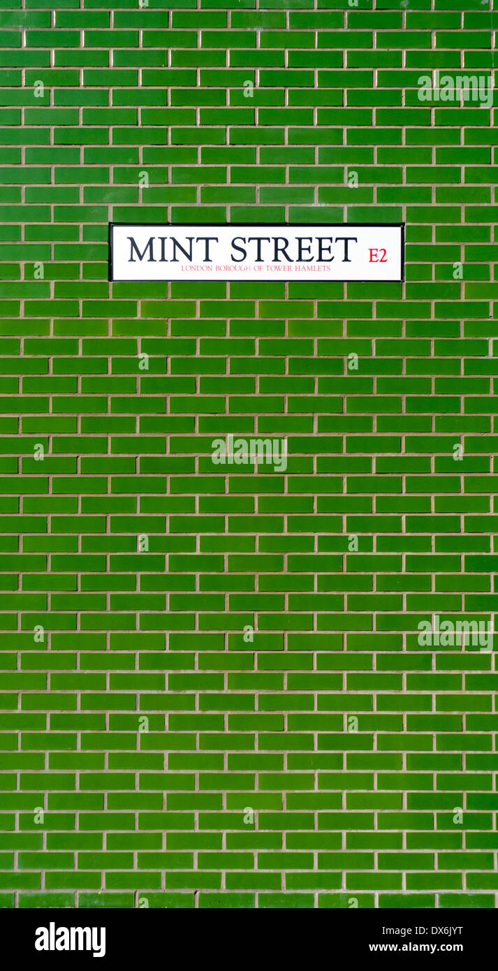 Mint Street sign on the side of a green tile brick building in Bethnal Green, London E2 England UK  KATHY DEWITT - Stock Image