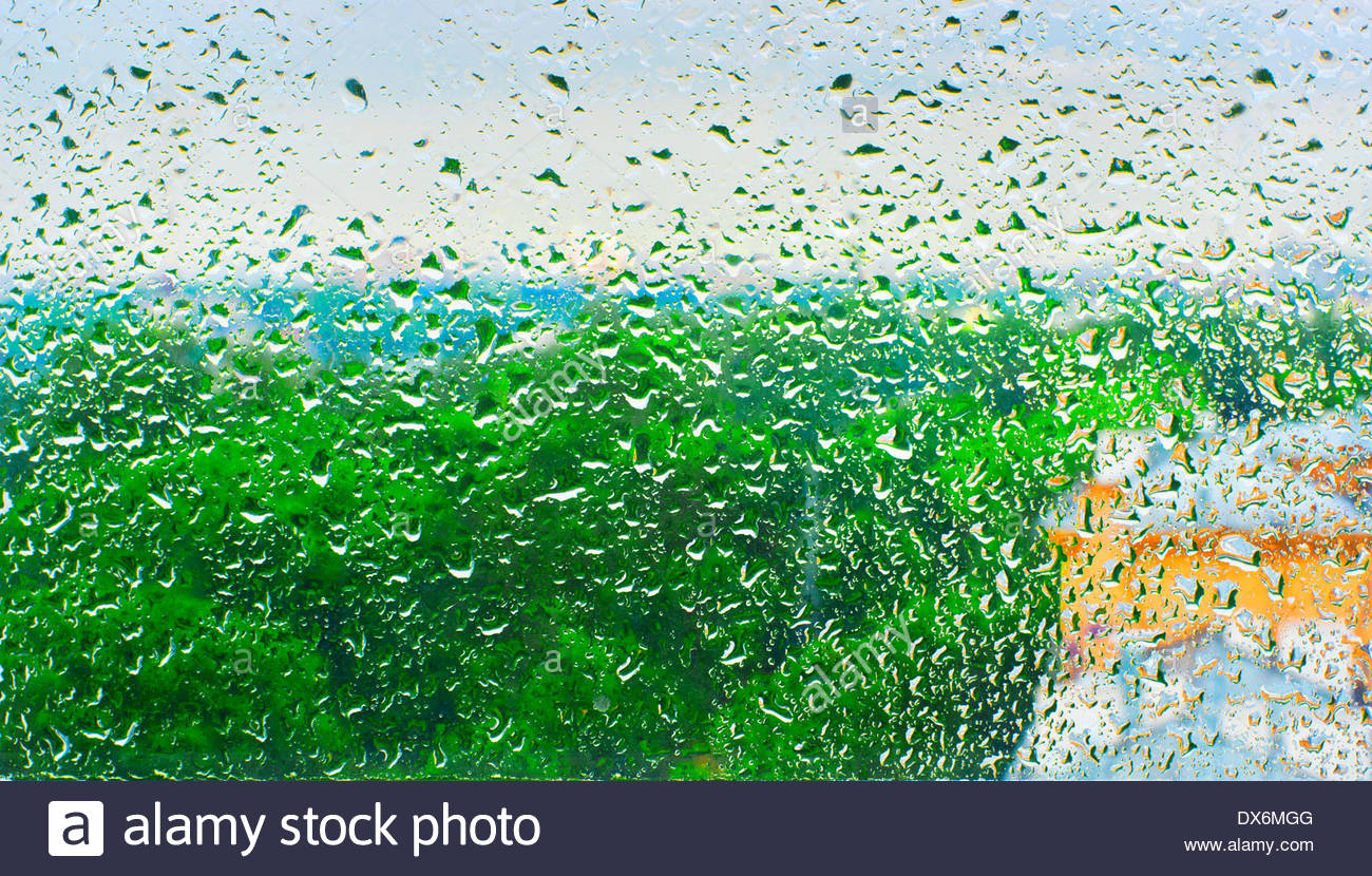 pictorial view from wet glass - Stock Image