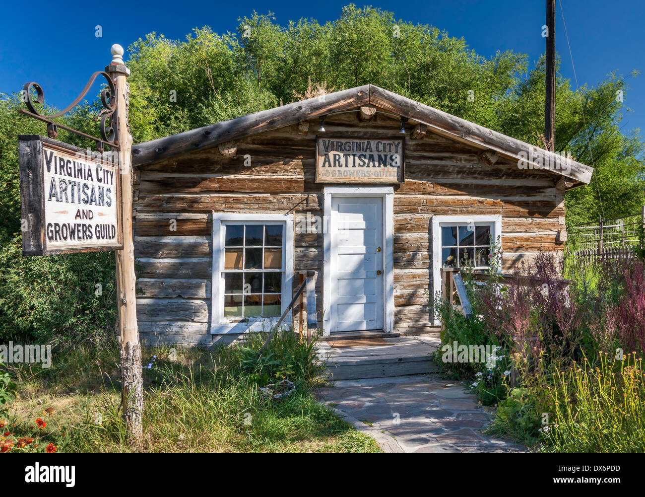 Artisans shop at log cabin in ghost town of Virginia City, Montana, USA - Stock Image