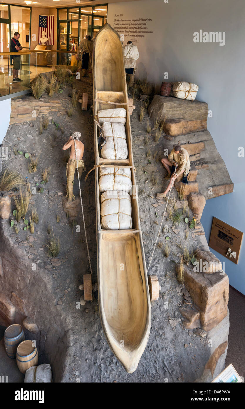 Diorama of portage on Missouri River, Lewis and Clark National Historic Trail Interpretive Center, Great Falls, Stock Photo