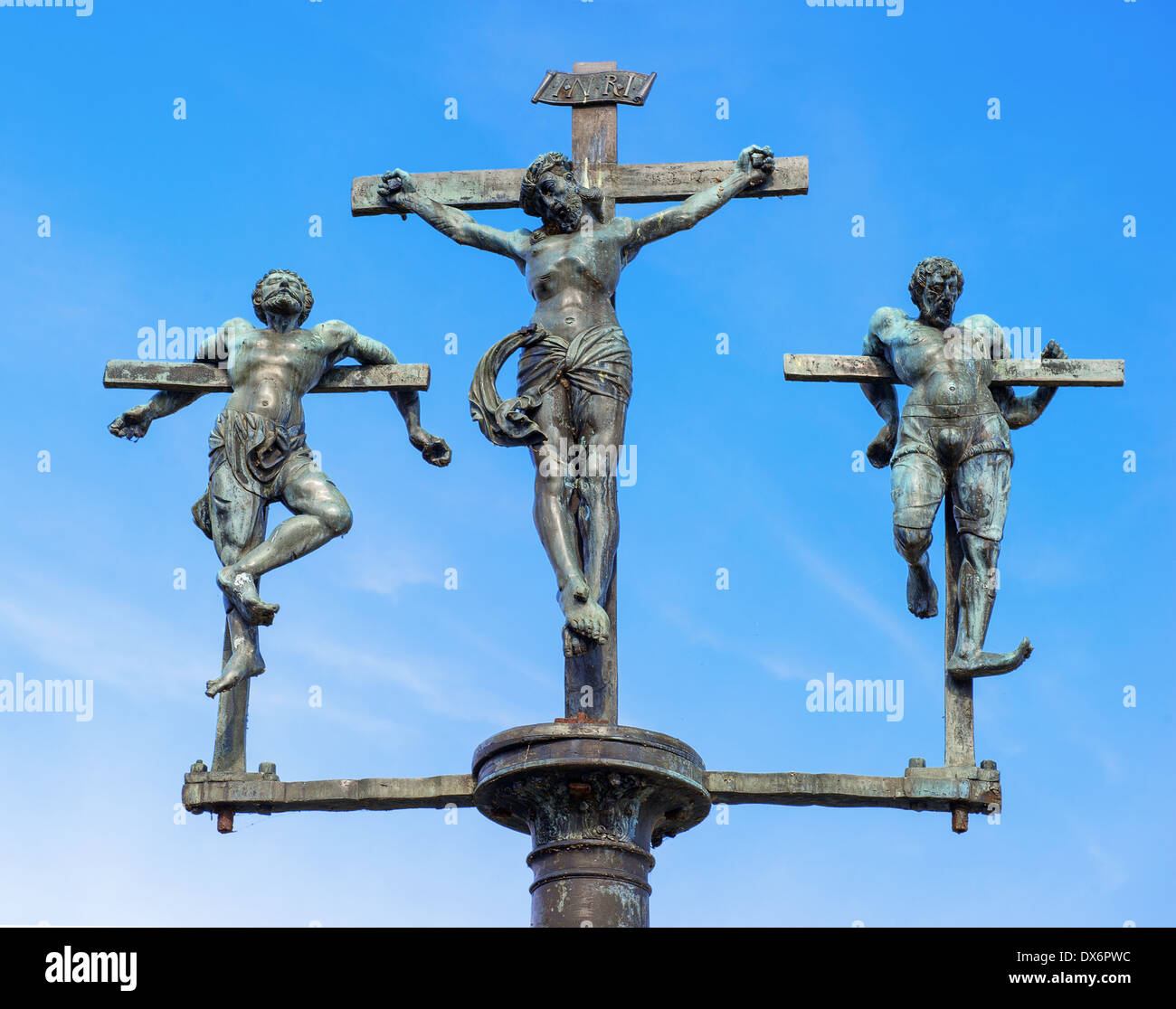 crucifixion of Jesus Christ, INRI, sculpture on the bridge to the Insel Mainau, Lake Constance, Baden-Wuerttemberg, Germany - Stock Image