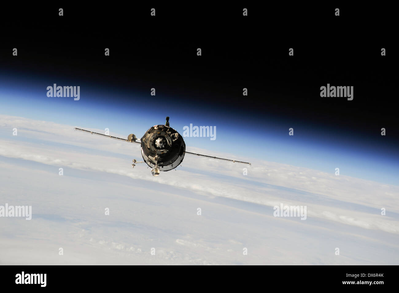 The Soyuz TMA-10M spacecraft approaches the International Space Station 10:45 p.m. EDT on Sept. 25, 2013. - Stock Image