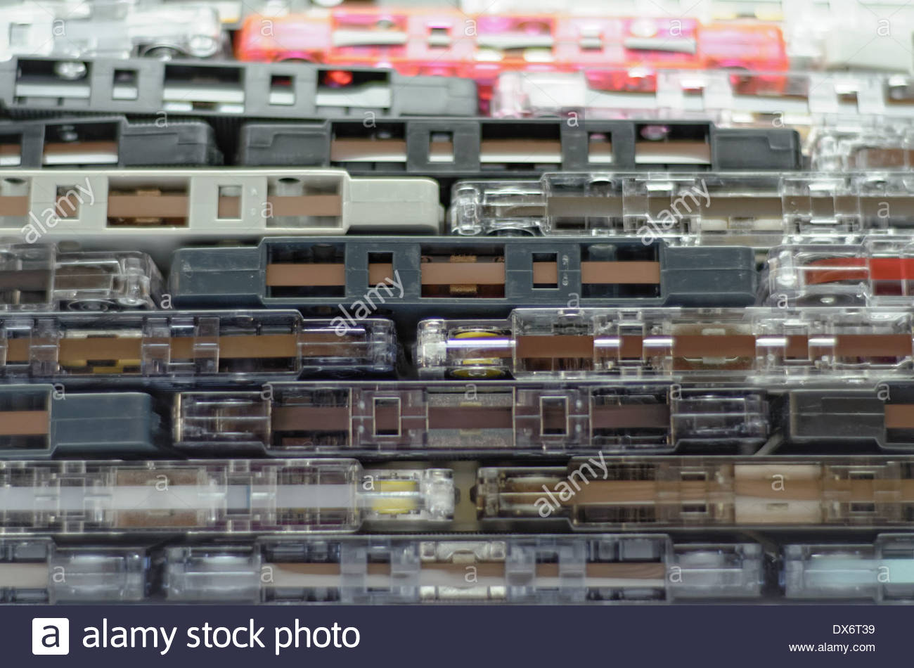 Pile of old audio cassette tapes - Stock Image