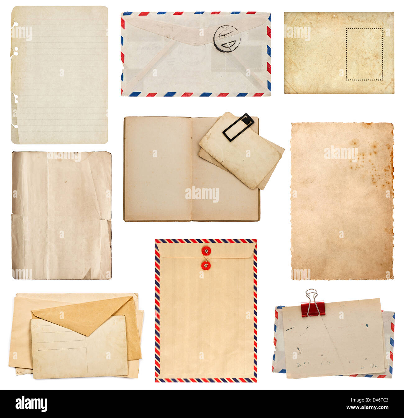set of old paper sheets, book, envelope, card isolated on white background - Stock Image