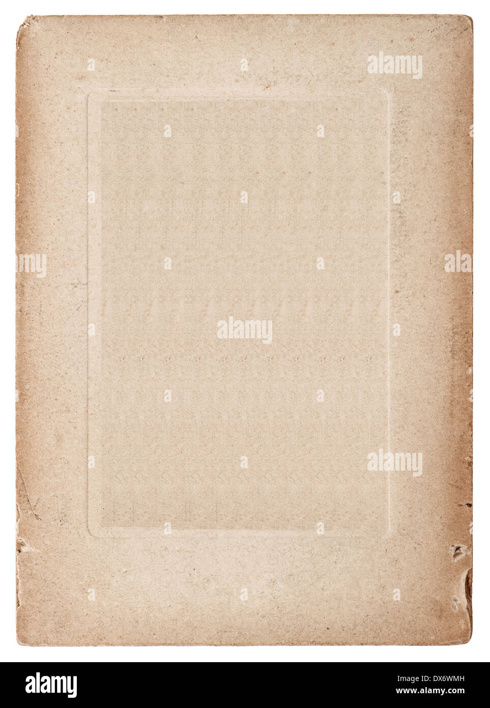 old vintage grunge card board. antique paper sheet isolated on white background Stock Photo