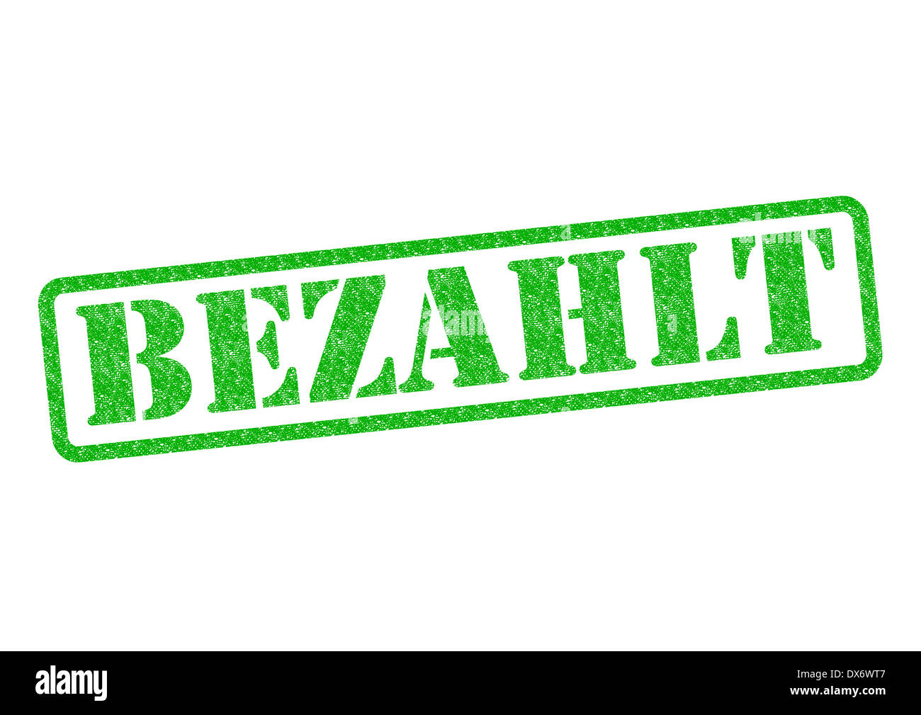 Bezahlt (Paid) Stempel/Stamp over a white background. - Stock Image