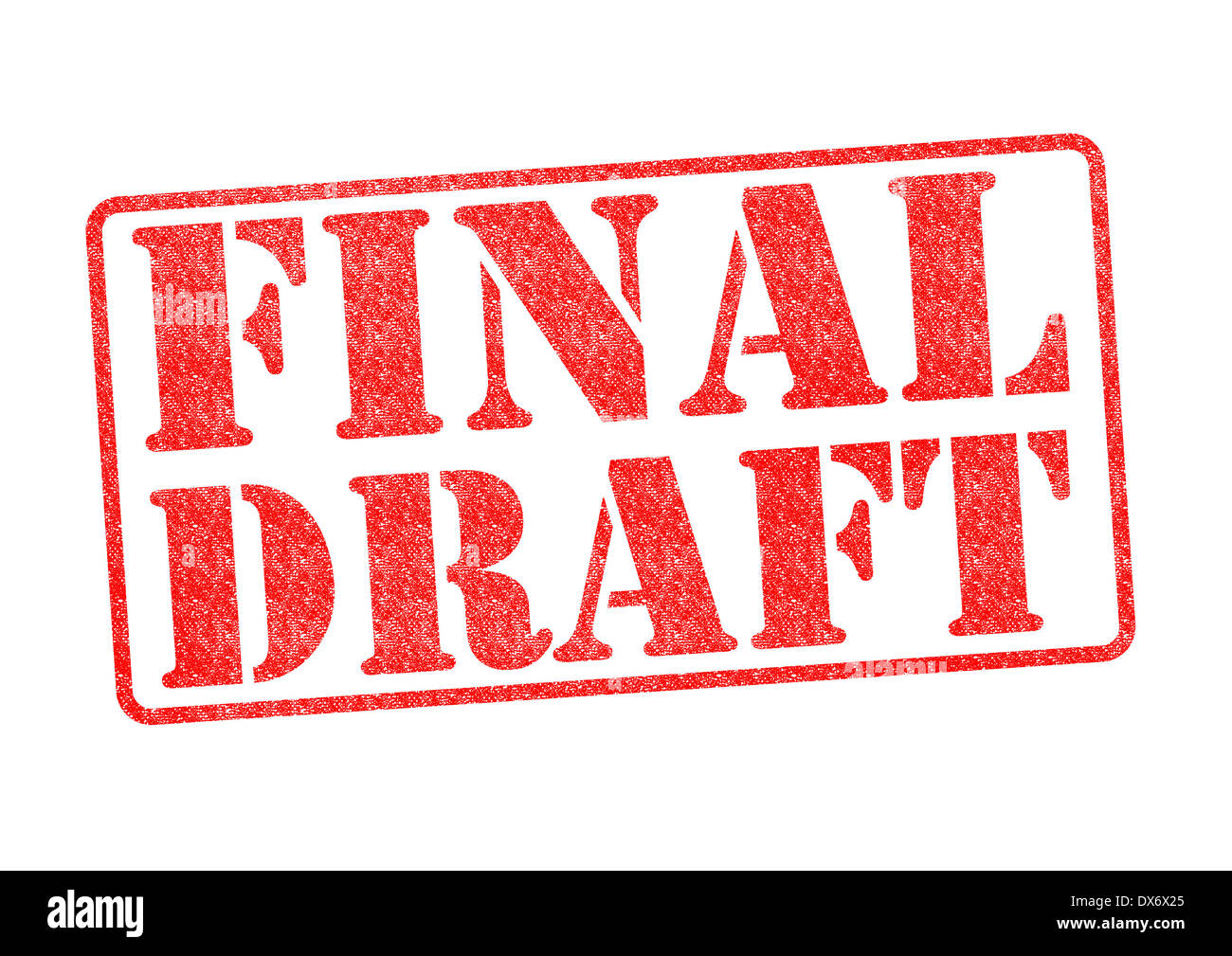 FINAL DRAFT red rubber stamp over a white background. - Stock Image