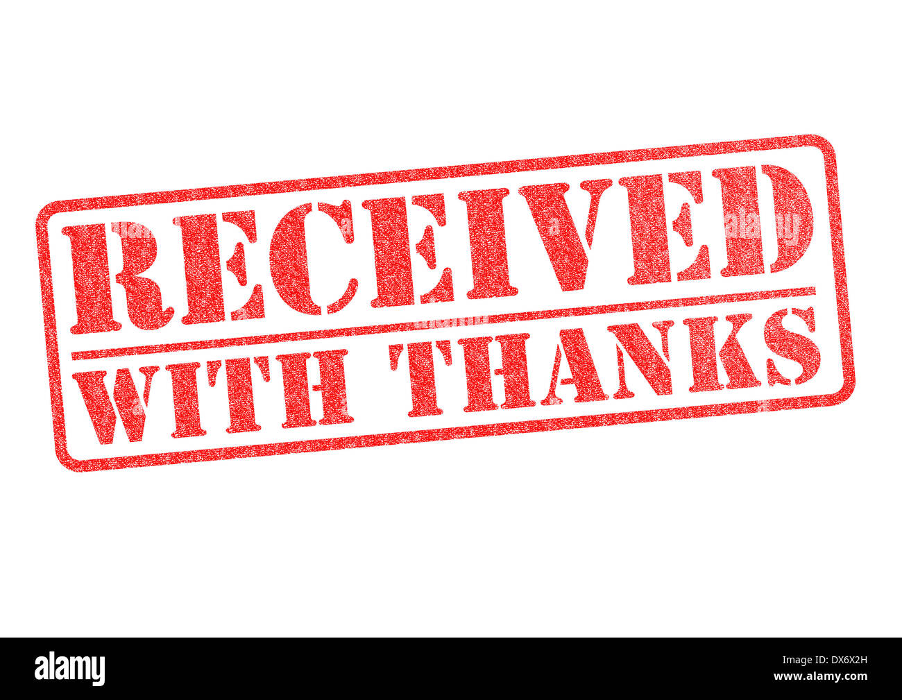 RECEIVED WITH THANKS red rubber stamp over a white background. - Stock Image