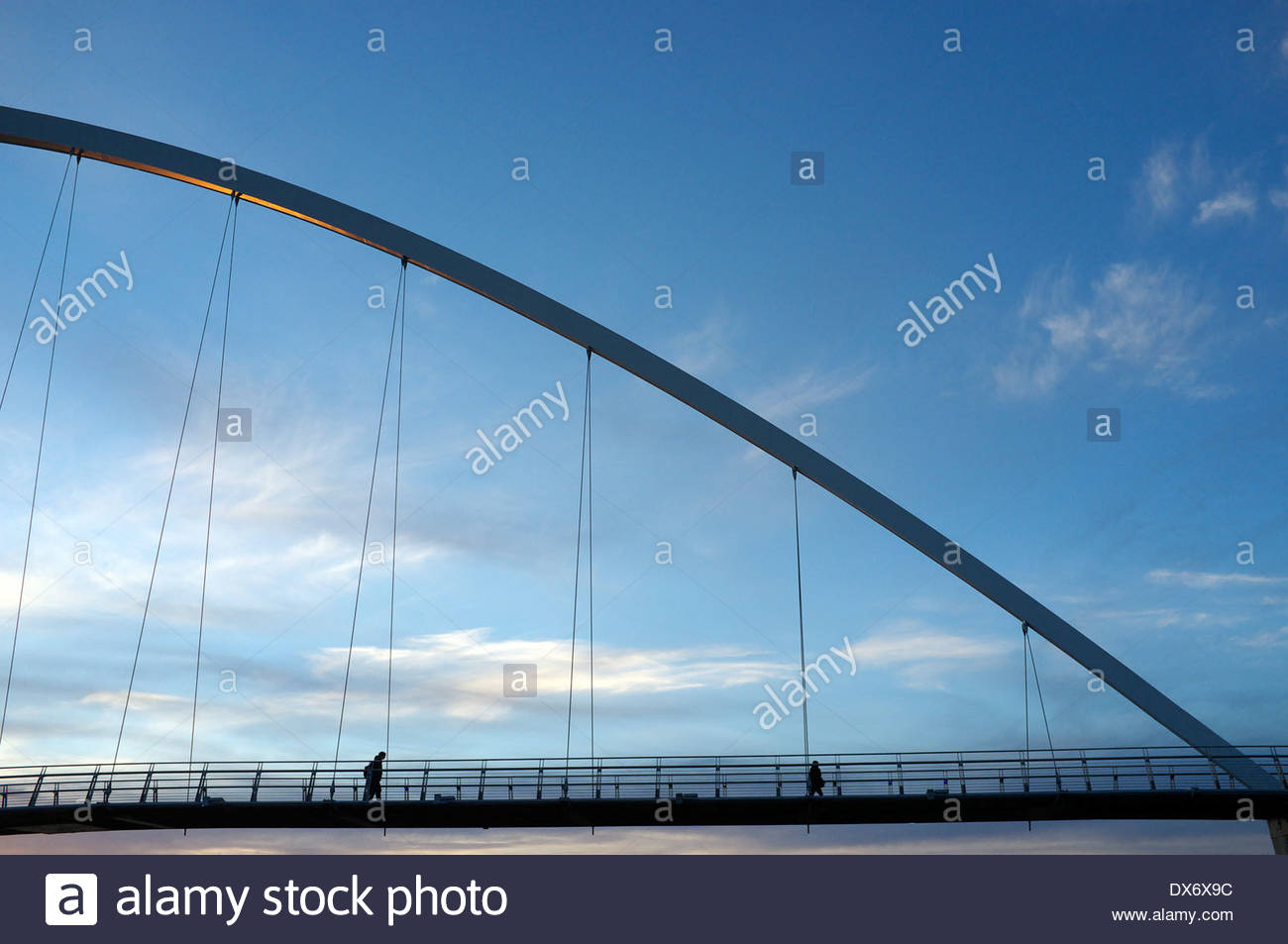 The Infinity Bridge (with a hint of evening sun on it) in Stockton-on-Tees, north east England, UK. Stock Photo