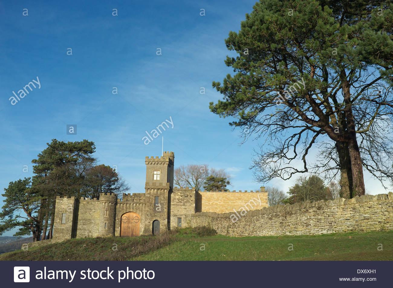 Rodborough Hill Fort, on Rodborough Common, near Stroud in Gloucestershire, UK. Stock Photo