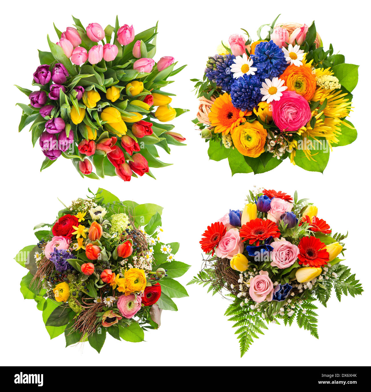 top view of four colorful flower bouquets for Birthday, Wedding ...
