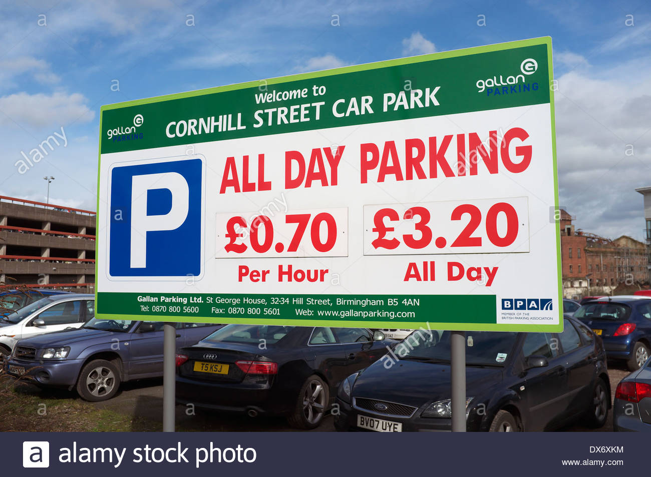 All Day Parking £3.20, in Wolverhampton, West Midlands, UK. - Stock Image