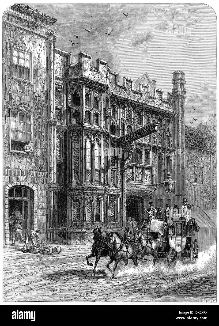 An engraving entitled 'George Inn, Glastonbury' scanned at high resolution from a book published in 1880. - Stock Image