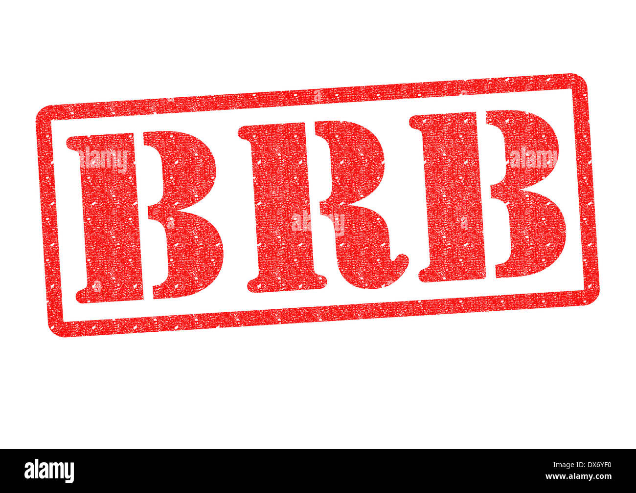 BRB rubber stamp over a white background. - Stock Image