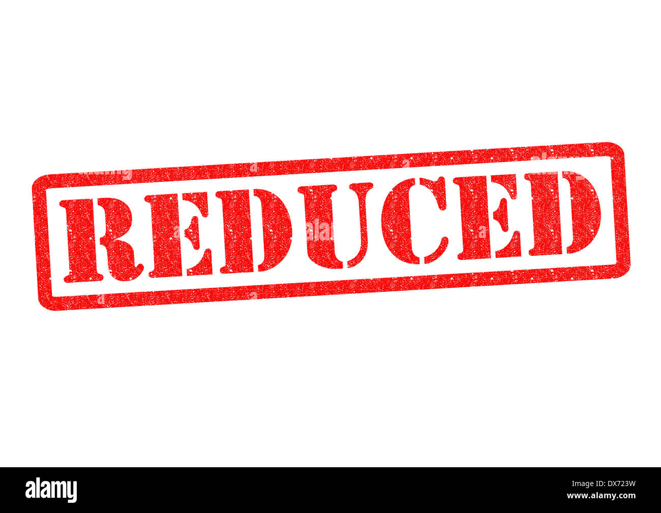 REDUCED Rubber Stamp over a white background. - Stock Image