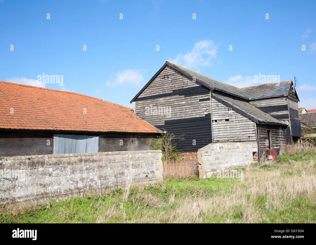 Old barns in Ramsholt, Suffolk, England - Stock Image