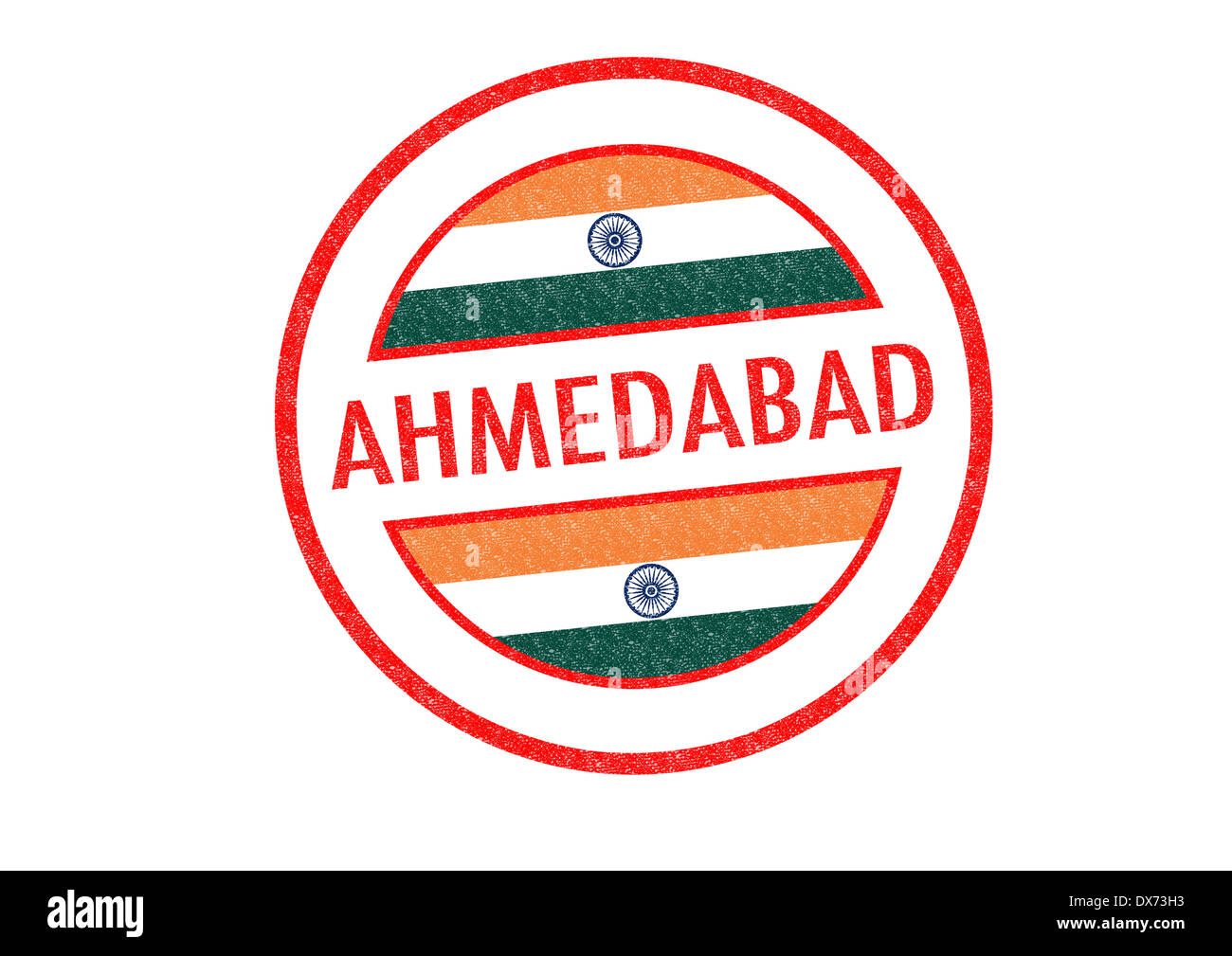 Passport-style AHMEDABAD (India) rubber stamp over a white background. - Stock Image