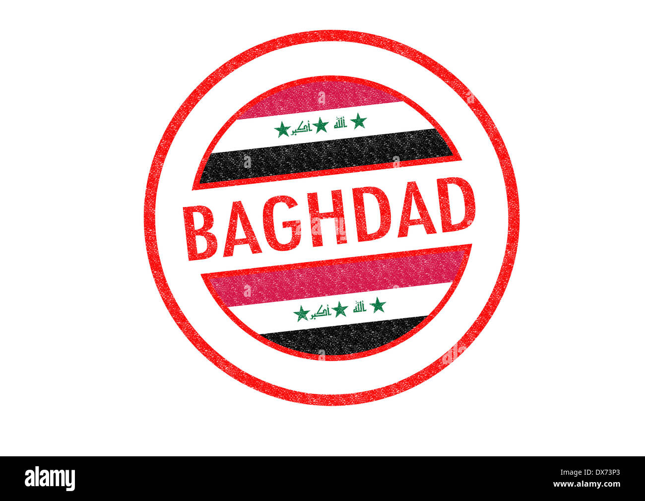 Passport Style BAGHDAD Capital Of Iraq Rubber Stamp Over A White Background