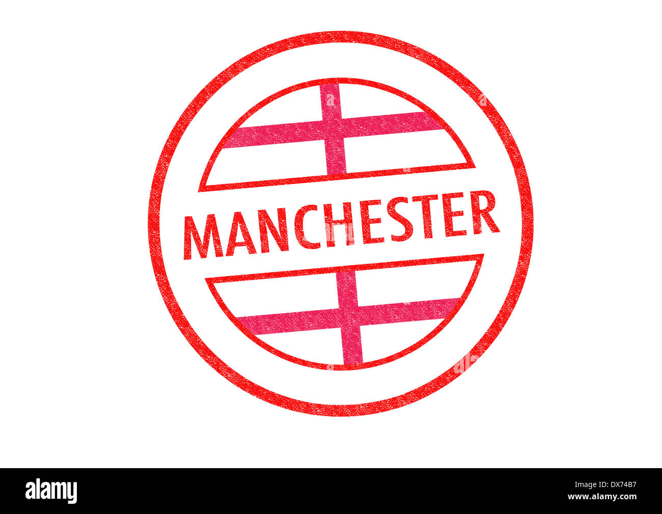 Passport Style MANCHESTER Rubber Stamp Over A White Background