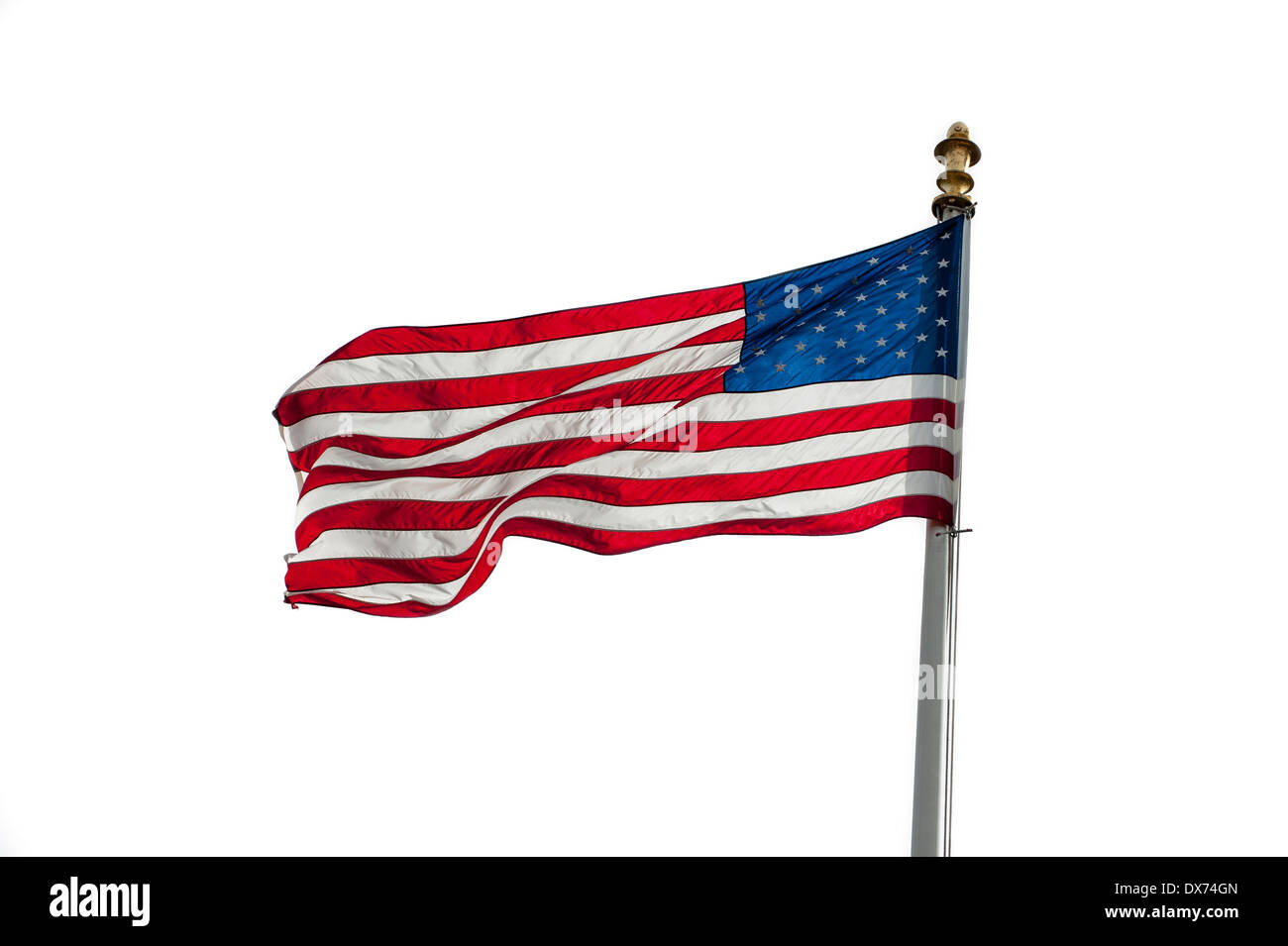 American flag showing US Stars and Stripes blowing in the wind on white background - Stock Image
