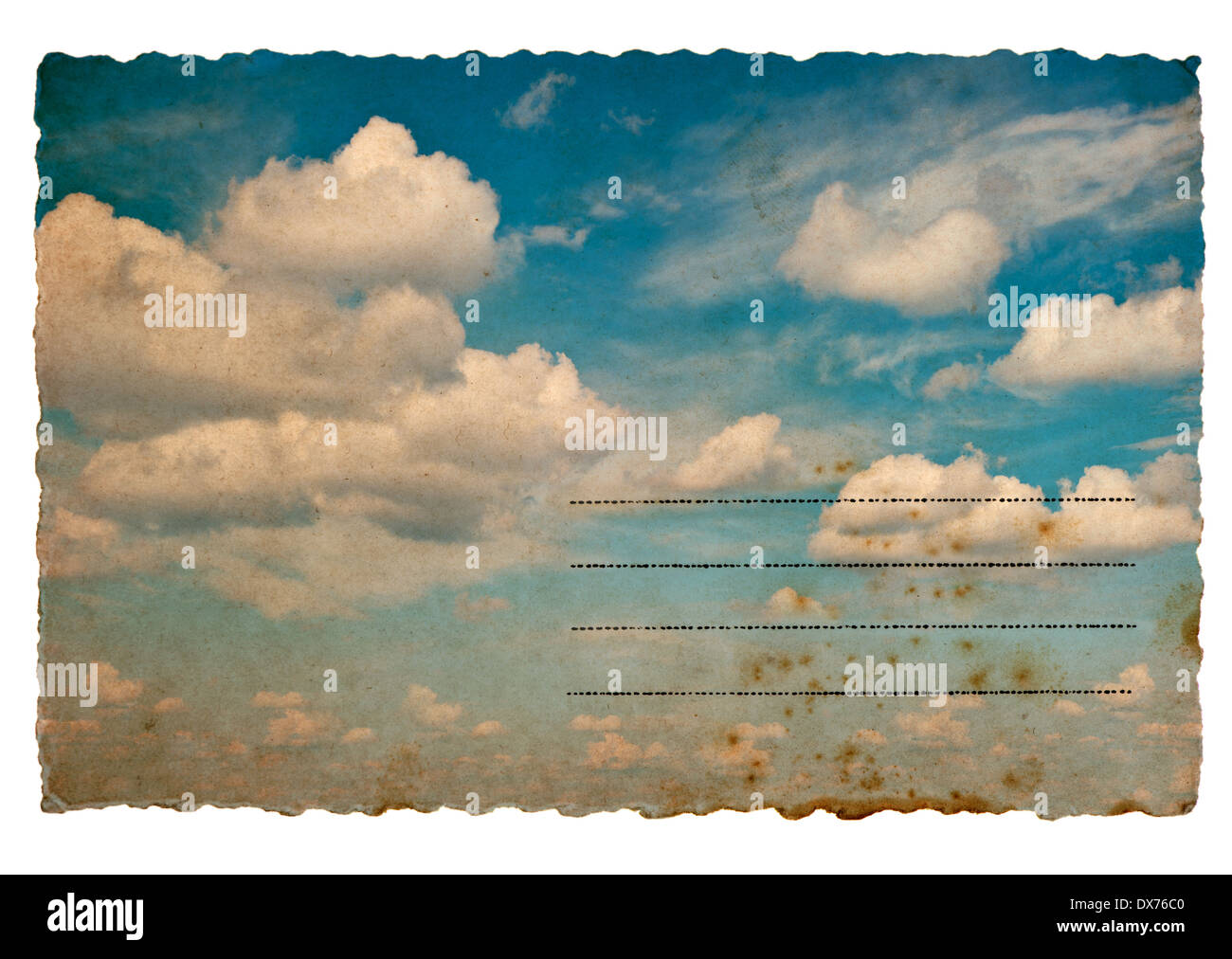 retro style postcard with cloudy blue sky background. old-fashioned grunge textured paper cardboard - Stock Image