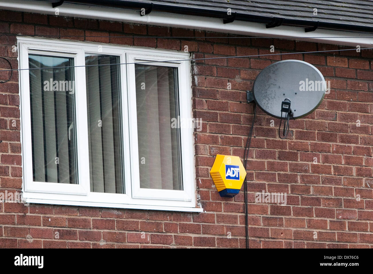 Adt Security Stock Photos Images Alamy Cameras Wiring Diagram An Alarm And A Satellite Tv Dish On House Image
