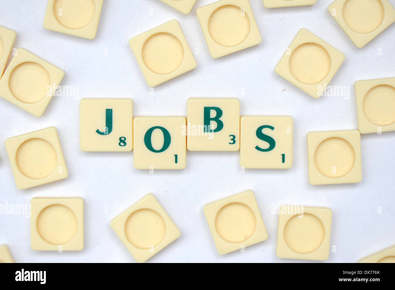 Scrabble tiles that spell out jobs. - Stock Image