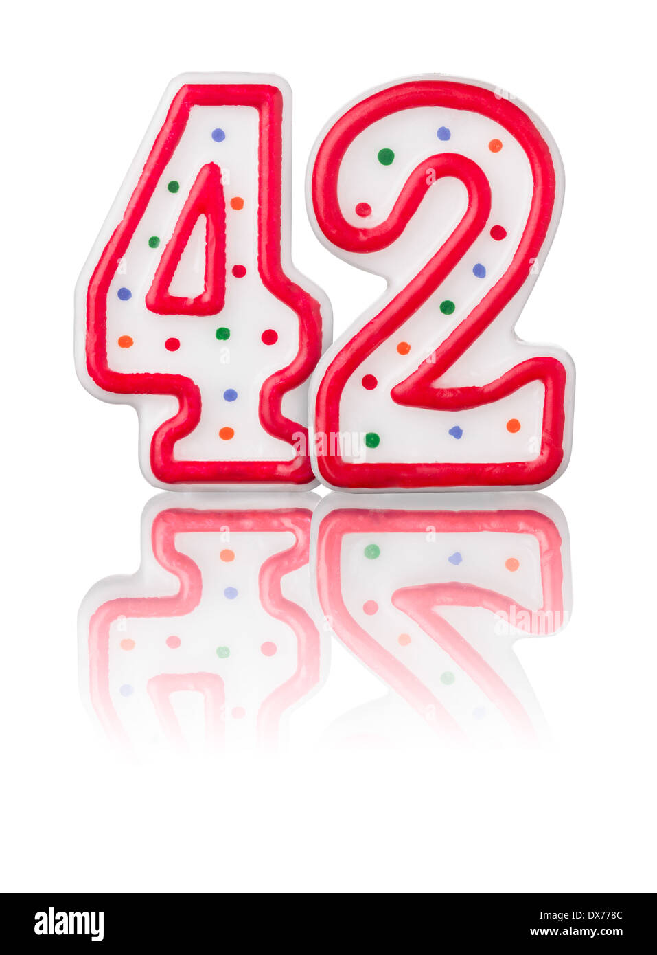 Red number 42 with reflection on a white background - Stock Image