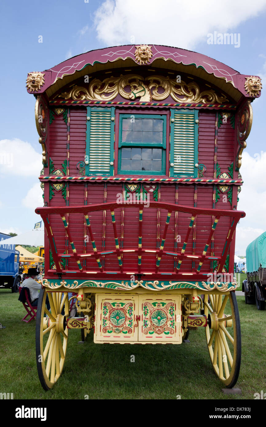 Highly decorated gypsy caravan at The Bath & West Show, Somerset, England - Stock Image