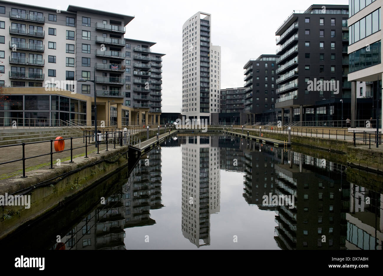 New Dock (formerly Clarence Dock) is a mixed development with retail, office and leisure presence in central Leeds, UK - Stock Image