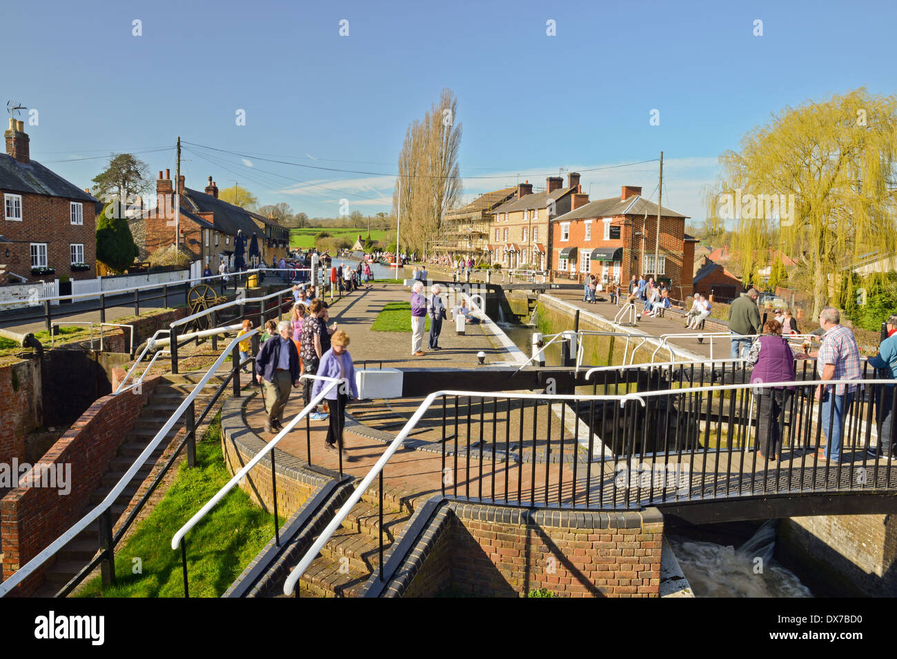 Gathering of people Stoke Bruerne Northamptonshire - Stock Image