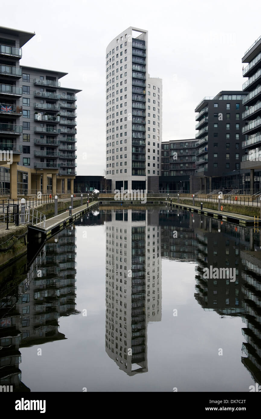 New Dock (formerly Clarence Dock) is a mixed development with retail, office and leisure presence in central Leeds, UK. - Stock Image