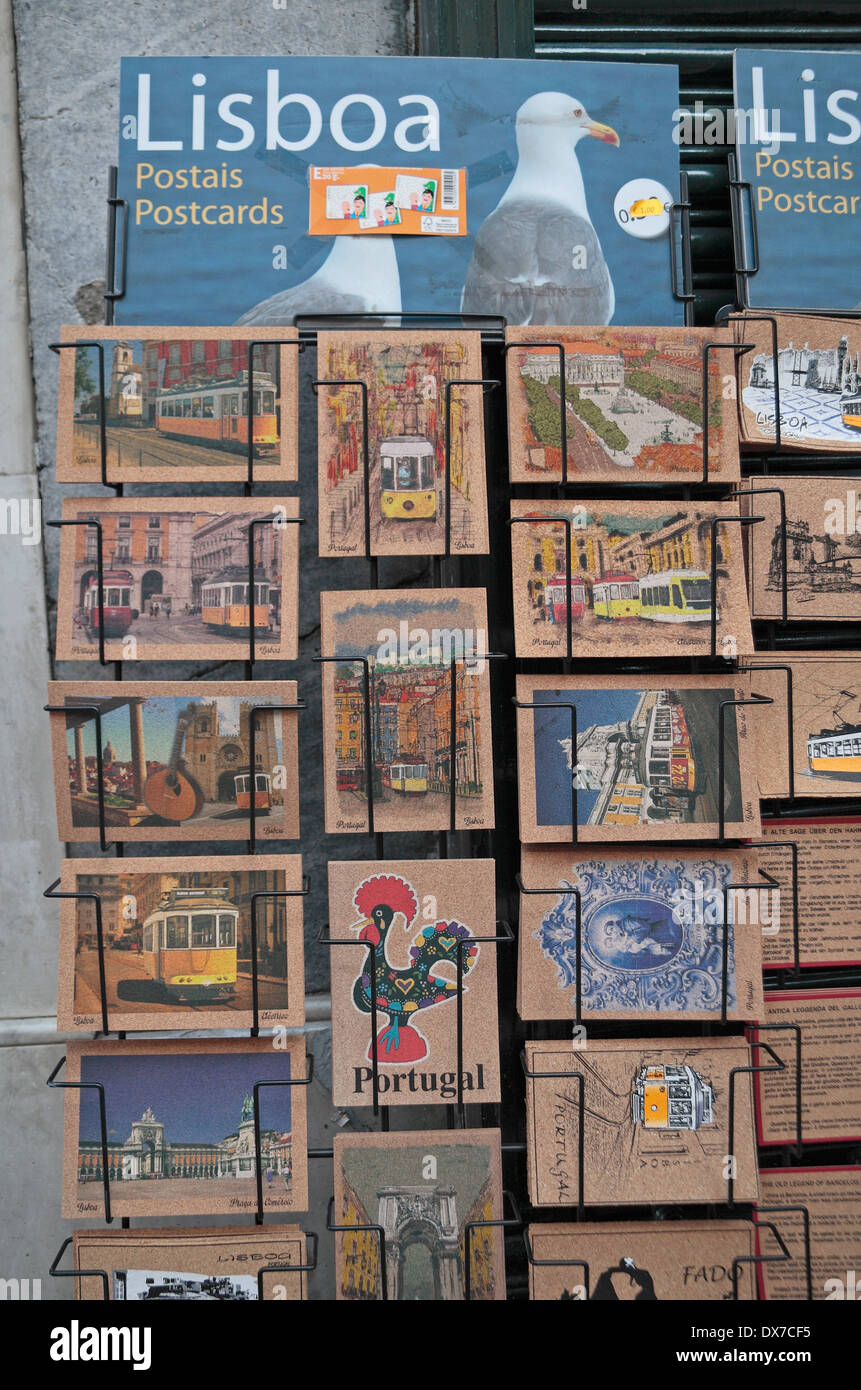 Unusual postcards on cork on sale outside a gift shop in Lisbon, (Lisboa), Portugal. - Stock Image