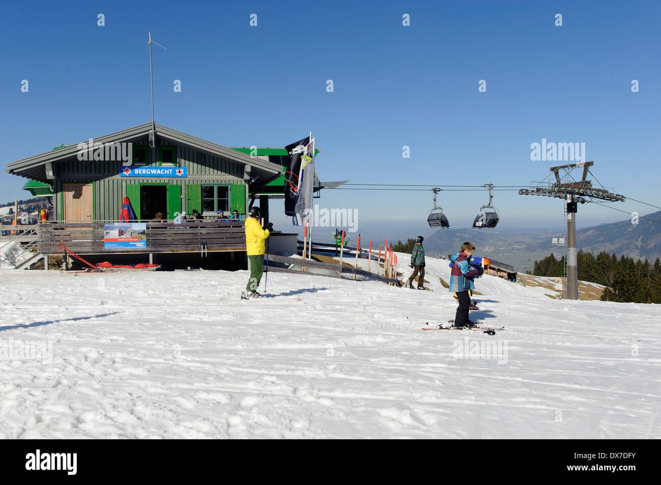 ski lift at ofterschwanger horn, allgäu, bavaria, germany stock