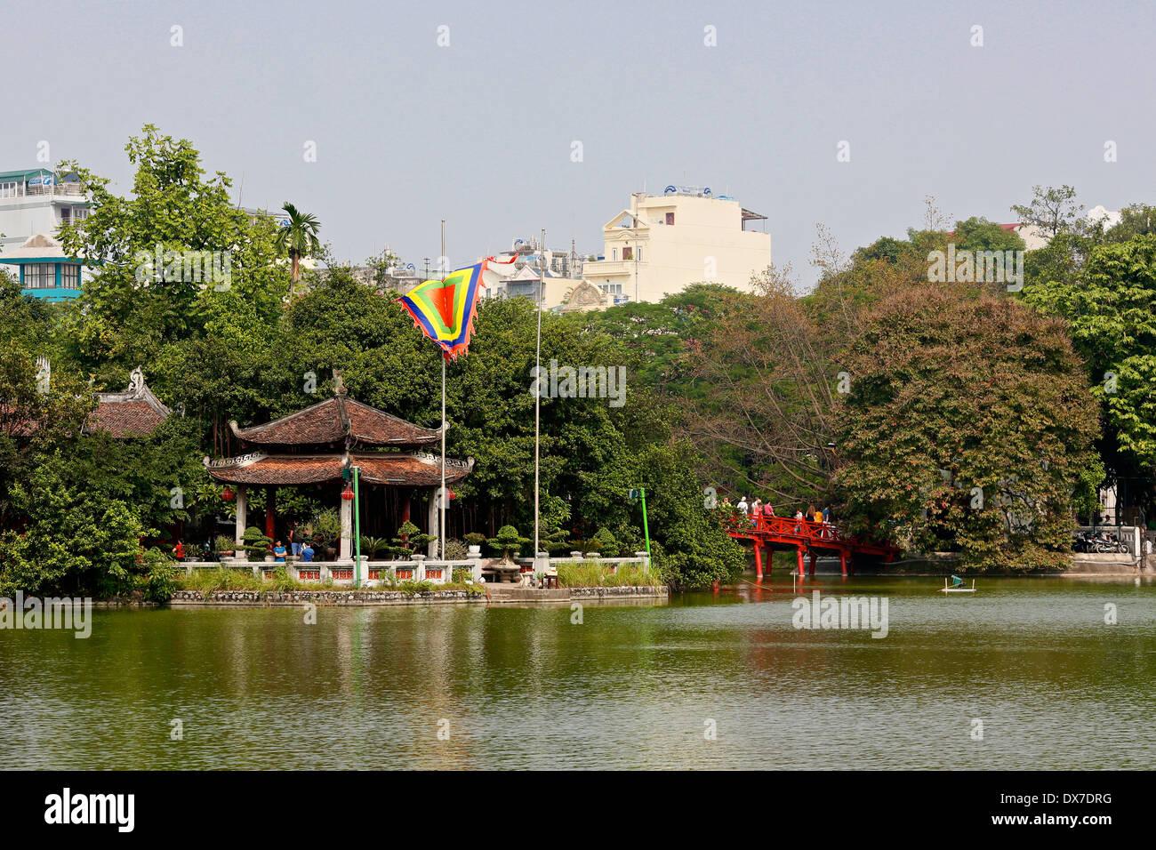 Ngoc Son Temple, Hoam Kiem lake, Hanoi, Vietnam, South East Asia - Stock Image