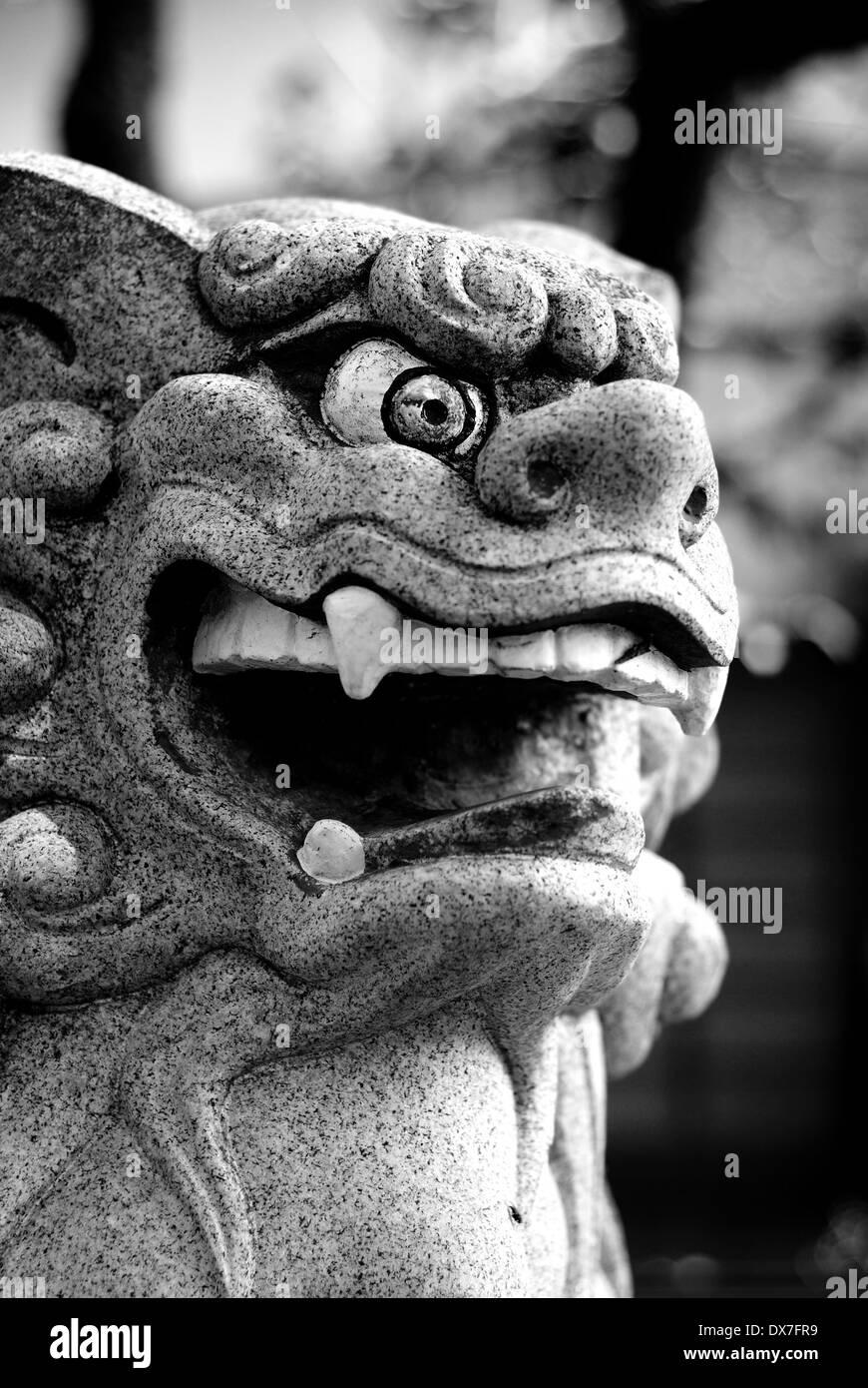 Komainu Statue At Mount Oyama, Kanagawa Prefecture, Japan - Stock Image