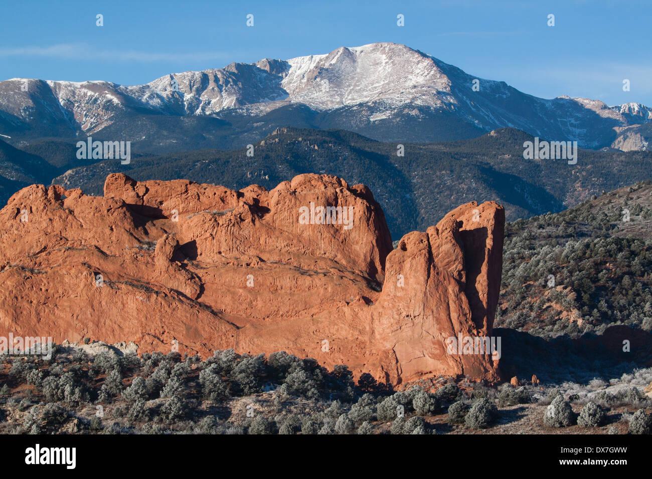 North Gateway Rock and Pikes Peak near Colorado Springs, Colorado - Stock Image