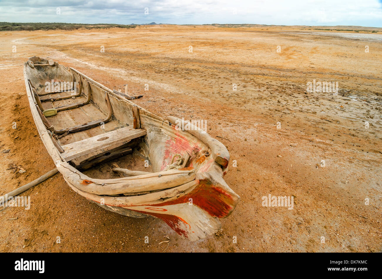 A canoe in the desert region of La Guajira in Colombia Stock Photo