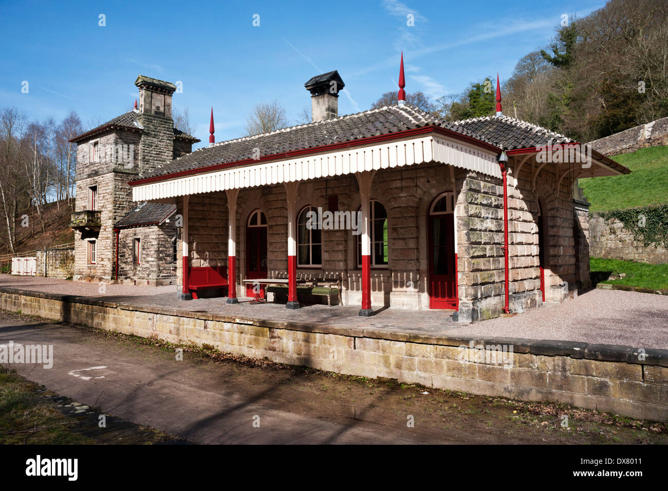 The former Alton Towers Station, Churnet Valley, Staffordshire, UK. Now a holiday let. Railway line is  a cycle / walking trail. - Stock Image
