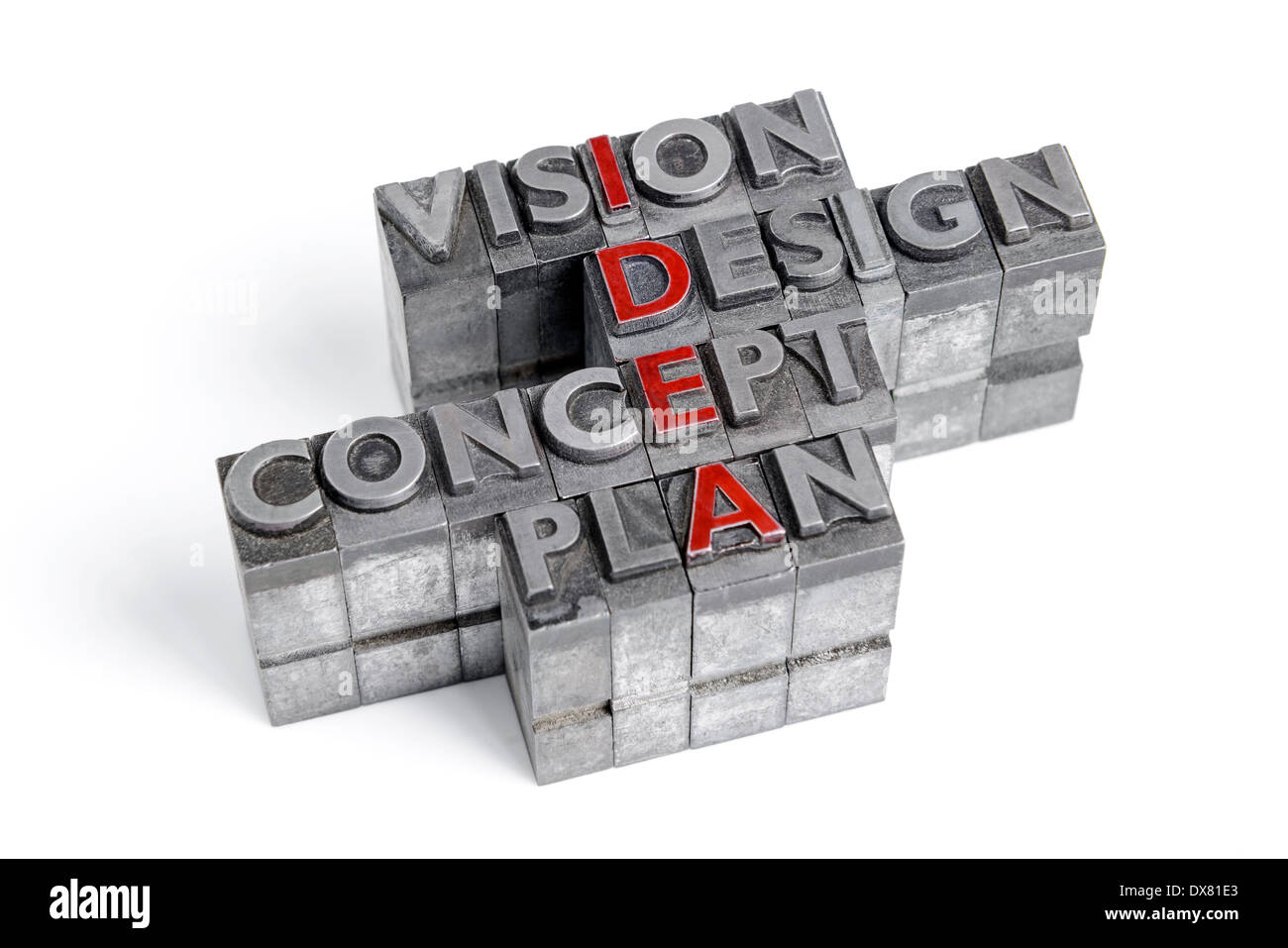 Idea as an acronym with the words Vision Design Concept and Plan in old metal letterpress printing blocks isolated on white. - Stock Image