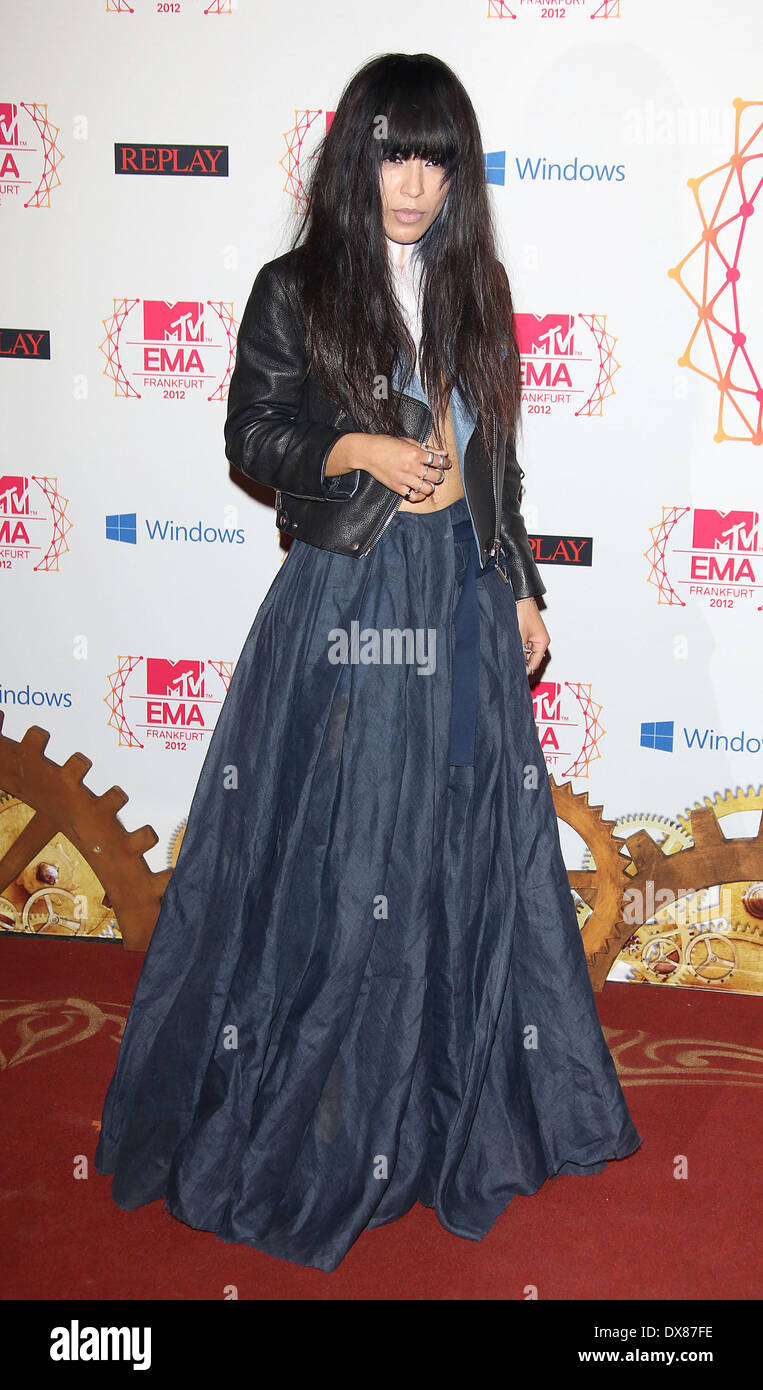 Swedish singer Loreen The MTV EMA's 2012 held at Festhalle - arrivals **or publication in Germany and France. A Stock Photo