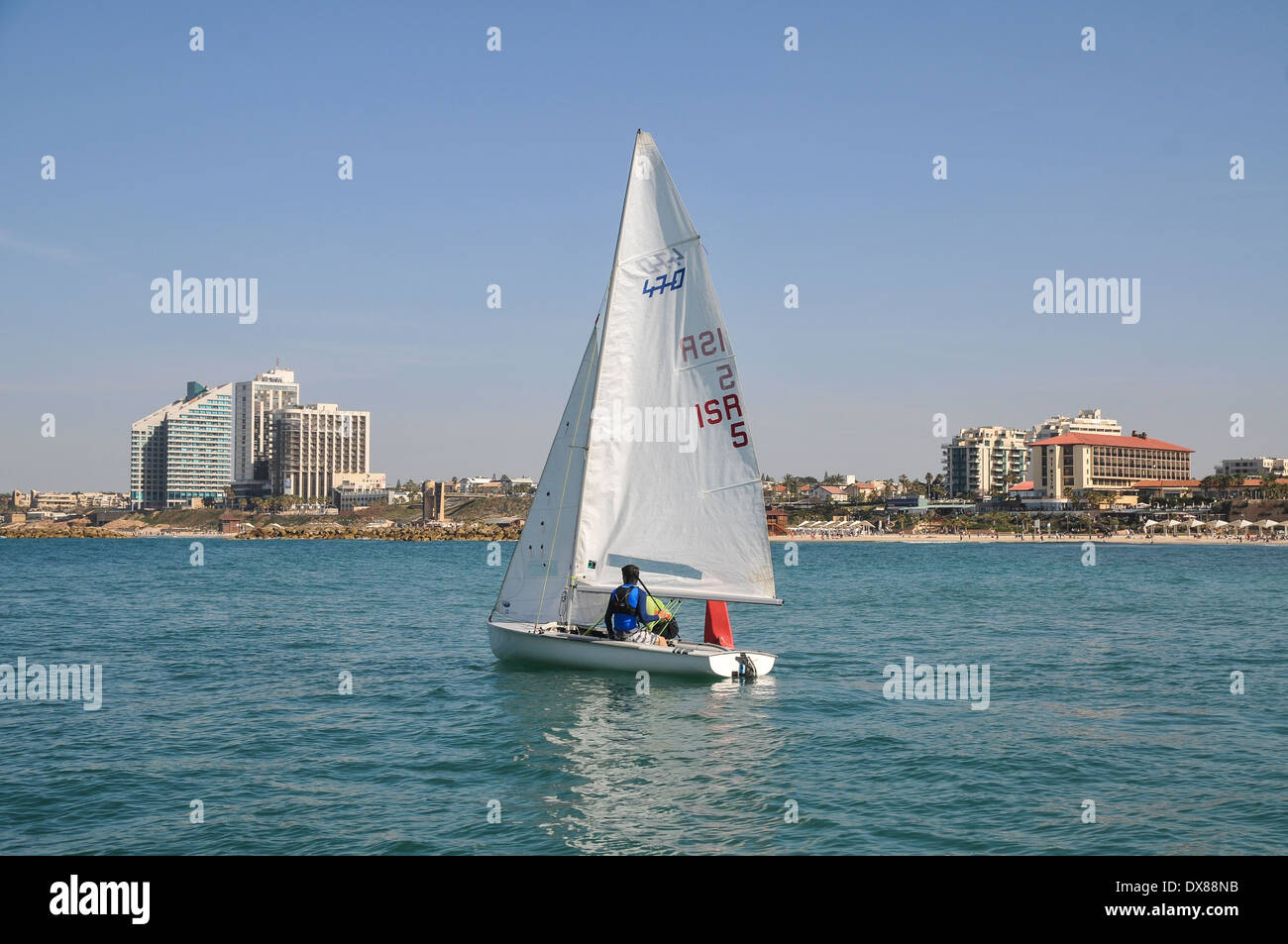 Sail boat in the Mediterranean Sea. Photographed in Israel, Herzlya - Stock Image