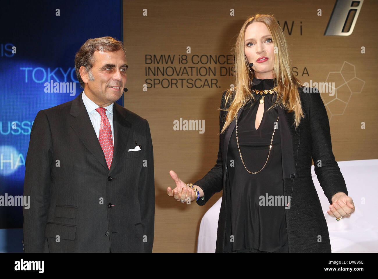 BMW of North America President & CEO Ludwig Willisch and Uma Thurman at the BMW i 'Born Electric' World Tour Opening Stock Photo