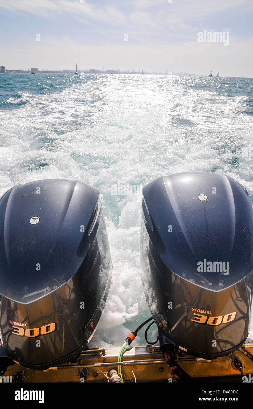 Two outboard engines on a motorboat - Stock Image